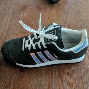 Adidas Samoa shoe with iridescent stripes
